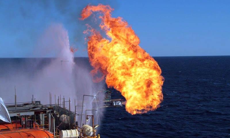 flame on offshore oil platform